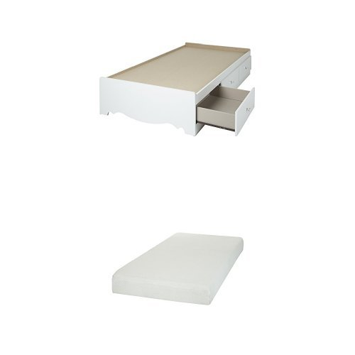 South Shore Crystal Twin Mates Bed (39'') with 3 Drawers, Pure White, and Somea Twin Mattress included (Twin Crystal Mates)