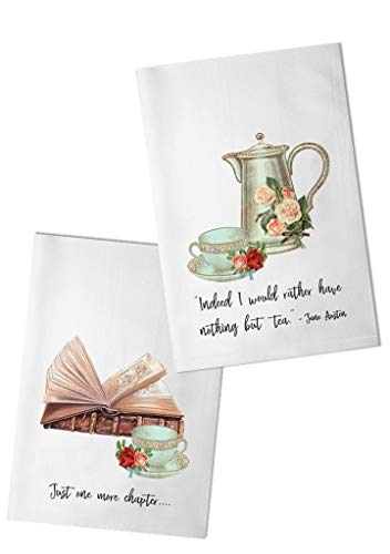 Bailey & Browne Teal Vintage Tea Pot and Cups Flour Sack Towel Set | Two Dish Towels