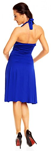 Halterneck 145z Ruched Ville Blue Waist Royal Sleeveless Flattering Women's Zeta Dress YfC1qn
