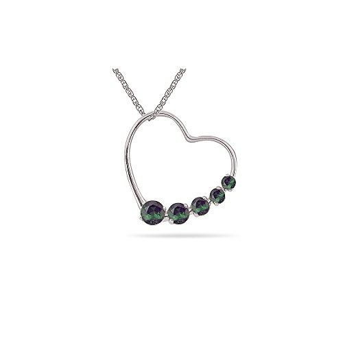 - 0.50 Cts AA Round Chrome Di-Opside Journey Heart Pendant in 14K White Gold