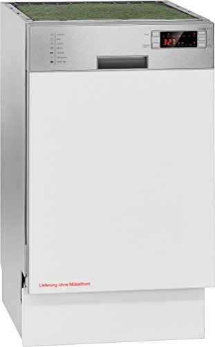 Bomann GSPE 883 Einbau-Geschirrspüler / teilintegrierte Ausführung 45 cm / A++ / 225 kWh/Jahr / 11 MGD / 2380 L/jahr / Edelstahlblende mit LED-Display