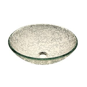 Arizona Glass Crafters Etched U0026 Elegant Frosted Etched Tempered Glass  Vessel Sink Basin