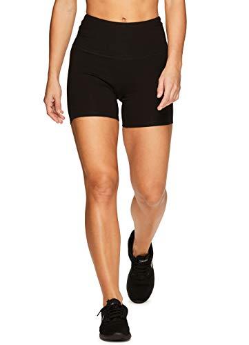 (RBX Active Women's Cotton Spandex High Waist Running Bike Short S19 Black XL )