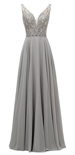 Wear Weddings Formal (SHANGSHANGXI Long Evening Dresses For Wedding Formal Beaded Women Prom Dresses Silver 14)