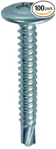 No.8 by 1//2-Inch Length Phillips 100-Pack Dottie TEKW812 Self Drilling Screw Wafer Head Zinc Plated L.H 1//4-Inch Hex
