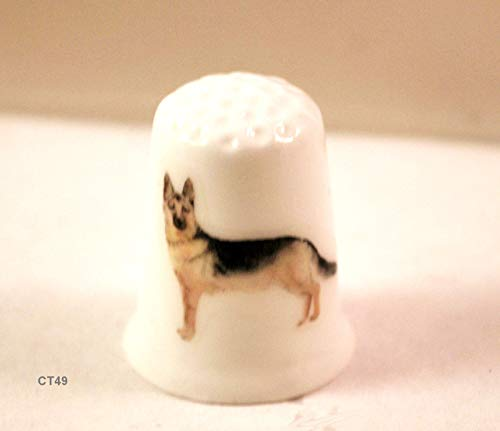 (German Shepherd Collectible Thimble with Puppy Dog)