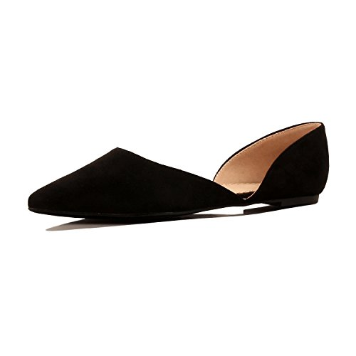 Guilty Heart - Women's D'Orsay Almond Pointed Toe Slip On Casual Flats, 02 Black Suede, 8.5 B(M) US