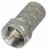 MANAX® F-Stecker Länge 20 mm gerändelte Version vernickelt für Kabel-Ø 5,0 mm - 20 Stück