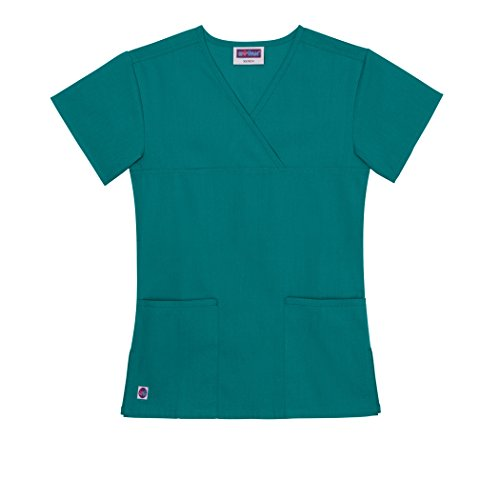 Sivvan Women's Scrubs Y-neck Partial Mock Wrap Top (Available in 8 Colors) - S8300 - Teal Blue - XL (Wrap Smock)