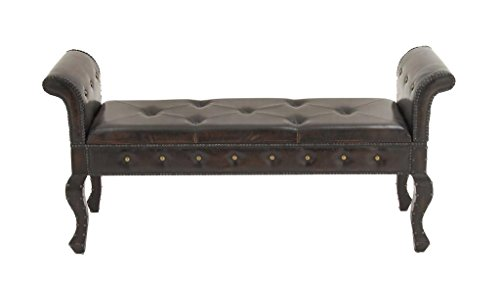 Leather Accent Bench (Deco 79 Wood Leather Bench, 50 by 50 by 50-Inch,)