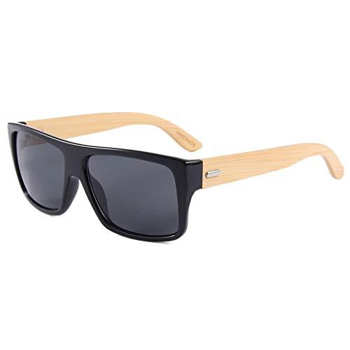 Retros la Color de Color bambú sol Lentes Oscuro Ultravioleta bambú protección de Gray del de Cuadrado Brazo Gafas Las con Marron del vidrios conducción Gafas de polarizadas wZgHpqpv