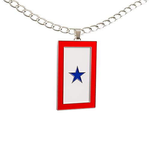Happy Kisses Blue Star Service Flag Necklace - Blue Star Mom Pendant- One, Two & Three Stars - Message Card (One Blue Star)