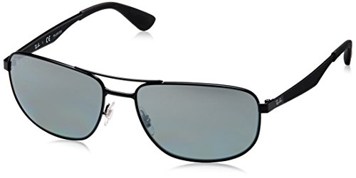 Ray-Ban Men's RB3528 Square Metal Sunglasses, Matte Black/Polarized Grey Mirror Silver Gradient, 61 mm (Rb3528)