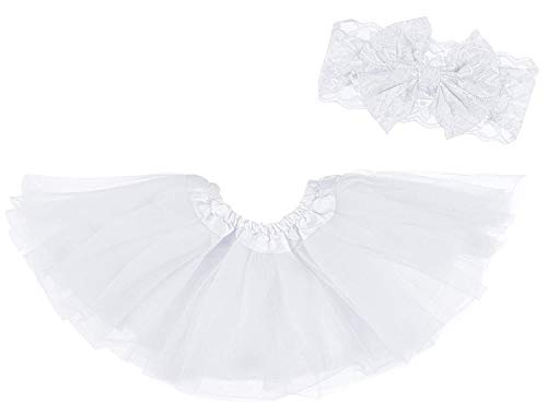 (Dancina Tutu Headband Set Baby Girls Infants Cute Skirt w/Lace Bow Headdress 6-24 Months White )