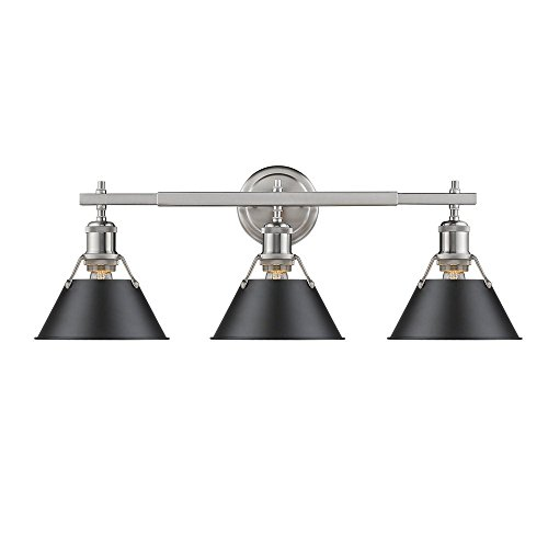 Golden Lighting Orwell PW 3 Light Bath Vanity in Pewter w/Black Shade