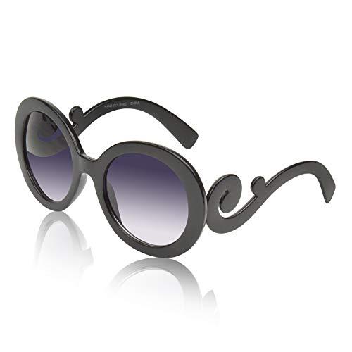 Women's Sunglasses For Women Designer Gradient Circle Lens Swirl Temple Black ()