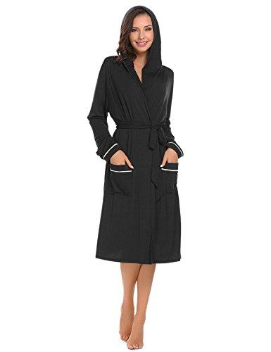 26d464c966 Ekouaer Womens Bathrobe Hooded Robes Long Sleeve Contrast Piping Hoodie Spa  Robe