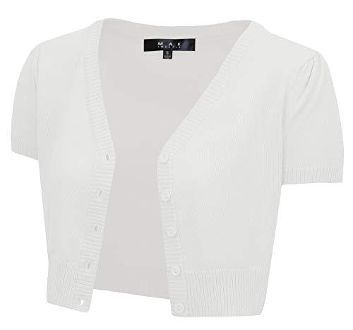 YEMAK Women's Short Sleeve Cropped Bolero Button Down Cardigan Sweater HB2137-WHT-2X White