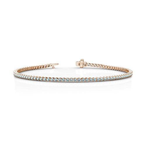 Aquamarine 1.7mm Tennis Bracelet 1.06 cttw in 14K Rose Gold