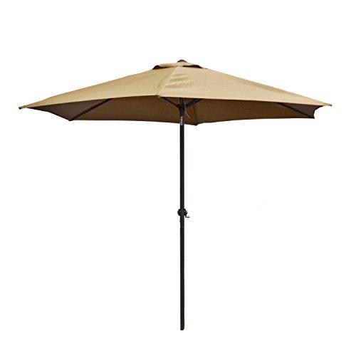 ALEKO UMB9FTSD Outdoor Patio Table Umbrella Waterproof Polyester with Tilt Adjustment 8 x 9 Feet Sand