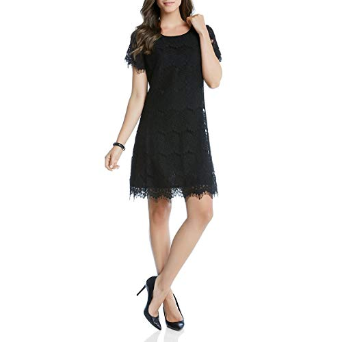 Karen Kane Womens Lace Overlay A-Line Cocktail Dress Black XS (Karen Kane Lace Overlay A Line Dress)