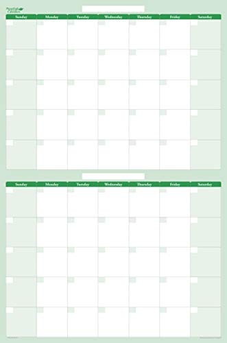 (60-Day 2-Month Dry and Wet Erasable Wall Calendar Planner by PlanetSafe Calendars. Best in It's Class. Non-Ghosting - Non-Staining (Vertical 58