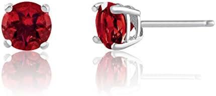 4mm Birthstone Round Cut Genuine Gemstone Rhodium Plated Sterling Silver Basket Setting Stud Earrings