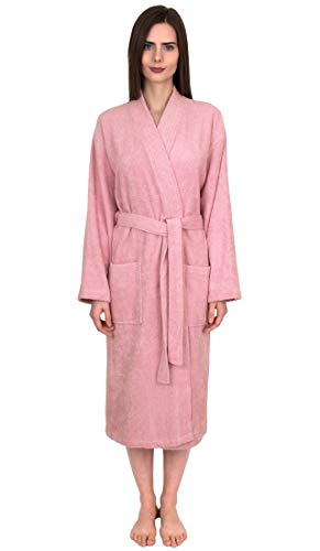 TowelSelections Women's Robe Turkish Cotton Terry Kimono Bathrobe X-Large/XX-Large Cameo Pink