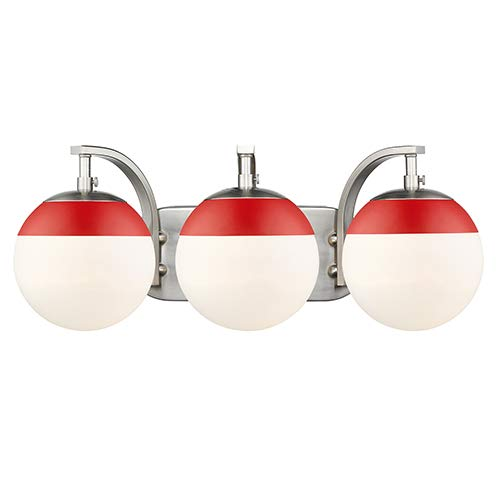 Golden Lighting 3218-BA3 PW-RED 3灯 浴室化粧台 B07LCS2KFG