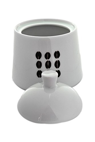 Modern White Porcelain Covered Sugar Bowl and Creamer Set with Coffee Bean Design
