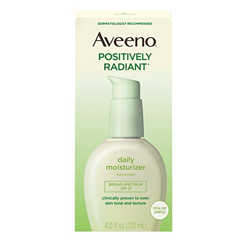 Aveeno Positively Radiant Daily Face Moisturizer with Broad Spectrum SPF 15 Sunscreen and Soy Extract, 4 fl. oz (Best Drugstore Tinted Moisturizer For Oily Skin)