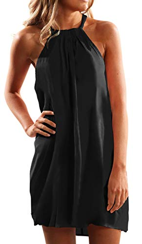 Shawhuwa Summer Dress for Women Halter Neck Sleeveless Solid Tunic Dress for Girls Black -