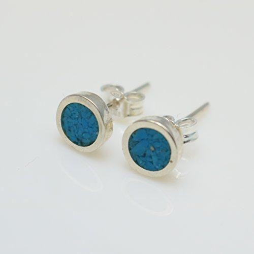 (Circle-shaped Turquoise Micro Mosaic Sterling Silver Stud Earrings, Semi Precious Gemstone by Handmade Studio)