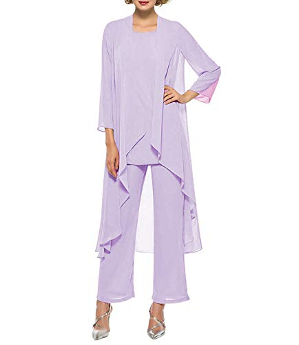 Fitty Lell Women's Three-Pieces Chiffon Mother of The Bride Dress Pants Suits Prom Gown(US10,Lavender)