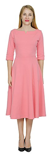 Ponte Dress (Marycrafts Women's Fit Flare Tea Midi Dress For Office Business Work 12 Coral Pink)