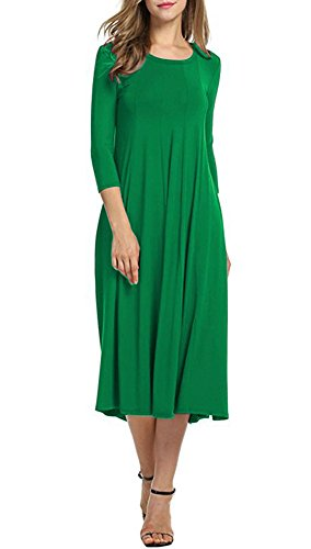 Doramode Womens 3 4 Sleeve Midi Classy Round Collar Swing Loose Ruffle Winter Casual Dress Green XXL (Dress Green Shoes)