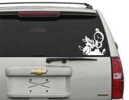 Alice in Wonderland Rabbit Vinyl Decal Car Sticker in White