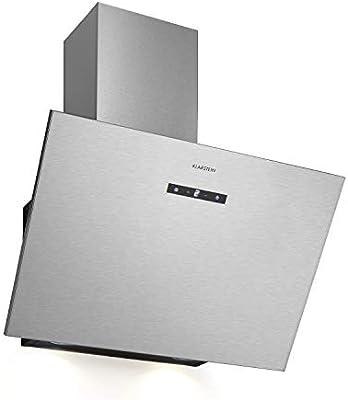 Klarstein Silver Lining 60 - Campana extractora de pared sin chimenea, 60 cm, clase energética: A, recirculación o descarga, 600 m3/h, 3 niveles de potencia, táctil, acero inoxidable: Amazon.es: Hogar