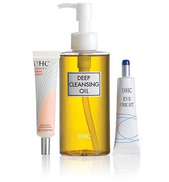 DHC Fresh Face Set, includes Deep Cleansing Oil 6.7 fl. oz, Velvet Skin Coat .52 oz, & Eye Bright .52 oz.