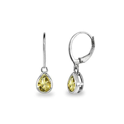 - Sterling Silver Citrine 7x5mm Teardrop Bezel-Set Dainty Dangle Leverback Earrings for Women, Teen Girls