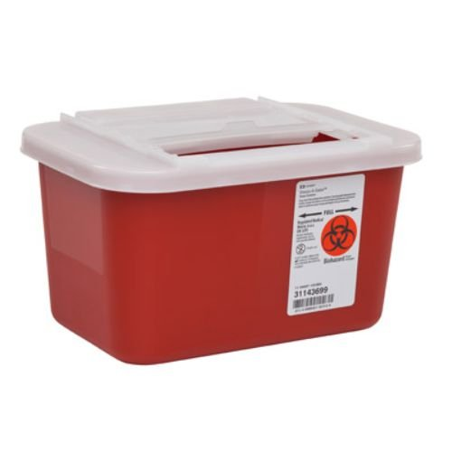 Covidien 31143699 Sharps-A-Gator Sharps Container with Slide Lid, 1 gal Capacity, Red (Pack of 32)