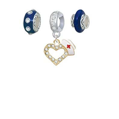 Set of 3 Crystal Heart with Nurse Hat Navy Charm Beads