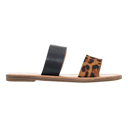 Rohb by Joyce Azria Casablanca Slip On Open Toe Sandal (Leopard) Size - Slingbacks Leopard Leather