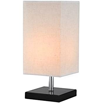 Surpars House Wood Fabric Desk Lamp Bedside Table Lamp,Dark Brown Base,  White Shade