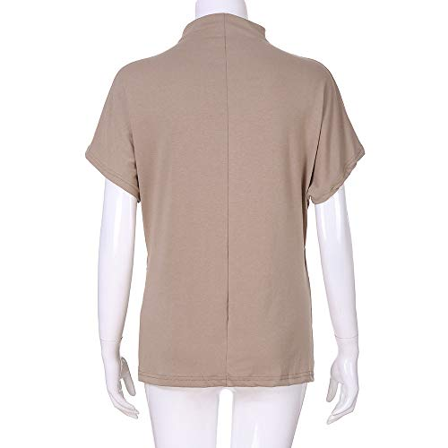 TWGONE Cap Sleeve Tops For Women Plus Size Turtleneck Solid Casual Blouse Top T Shirt (XXX-Large,Khaki) by TWGONE (Image #4)