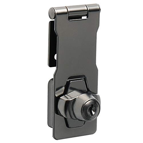 Alise 4-Inch Clasp Keyed Hasp Latch Lock Safety Gate Latches,Without Padlock,Black