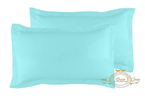 Crown Collection Aqua Solid Standard 20x26 Inch Pillow Shams Set of 2 - Hypoallergenic 500-TC 100% Egyptian Cotton Decorative Tailored Poplin Pillow Cover (Aqua, Standard 20'' x 26'')