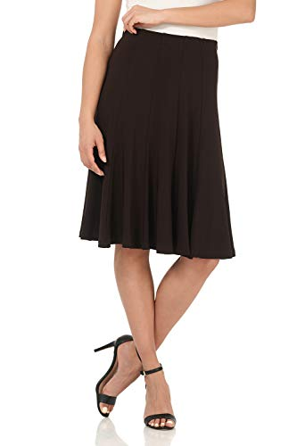 Rekucci Women's Ease into Comfort Flared Knee Length Knit Skirt (XX-Large,Espresso)