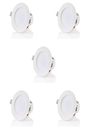 sweet led 5 X Flaches Design IP44 5W 480 Lumen LED Einbaustrahler Flach | Warmweiß - Kaltweiß Flach | 230V | Rund | Bad Einba