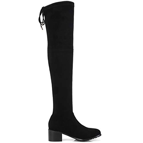 Above Knot Boots Heel ELEHOT Black Toe The Womens Elefather Knee Leather Block Round IqwFCvBcwn